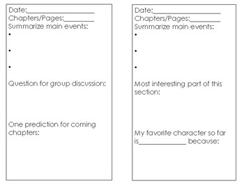 Literature Circles Printable Student Journal for use with ANY book!