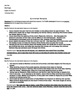 Literature Circles Summarizer Example