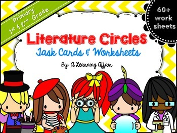 Primary Literature Circles Task Cards & Worksheets Bundle