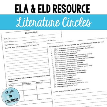 Literature Circles Worksheet/ Graphic Organizer