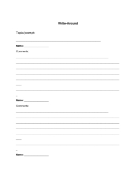 Literature Circles: Write-Around Prompts and Template