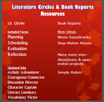 Literature Circles and Book Reports Resources