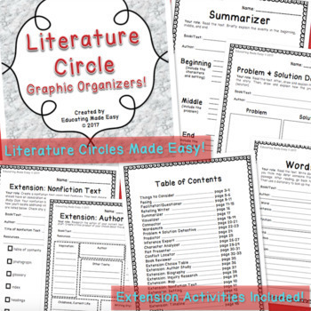 Literature Circles Graphic Organizers for Elementary & Middle with Extensions!