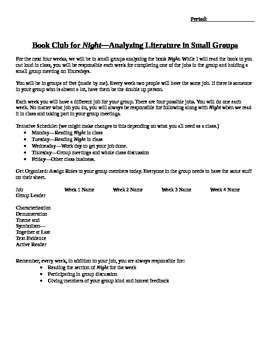 Literature Circles for Night--Common Core, Works With Other Texts
