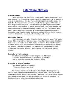 Literature Circles for Reading Groups