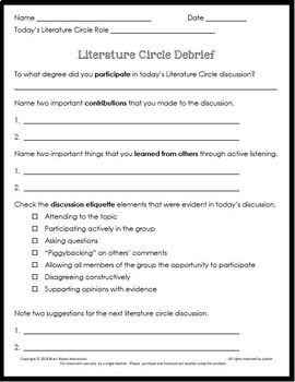 Literature Circles with 9 Doodle Literature Circle Roles, Guidelines, Rubrics