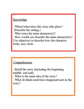 Literature Circles with Bloom's Taxonomy Questions
