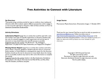 Literature Connections Freebie