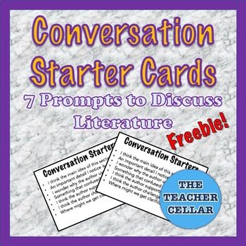 Literature Conversation Starters - 7 Prompts per Card - FREE