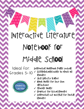 Literature Differentiated, Interactive, Guided Notes for grades 5-10
