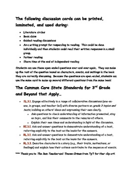 Literature Discussion Questions: open-ended and printable for multiple uses!
