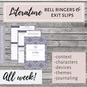 Literature Bell Ringers/Exit Slips for the Entire Week! (Google Slides EDITABLE)