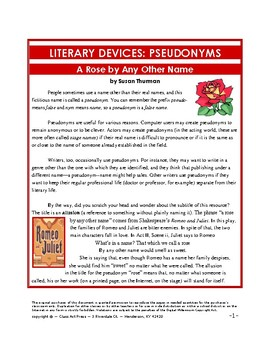 Literature Fun: Literary Pseudonyms: A Rose by Any Other Name (5 Pgs., $3)