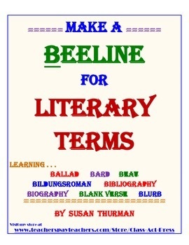 Literature Fun: Literary Terms Starting with B (3 Pages, Ans. Key Included, $3)