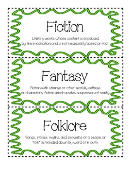 Literature Genre Cards Freebie