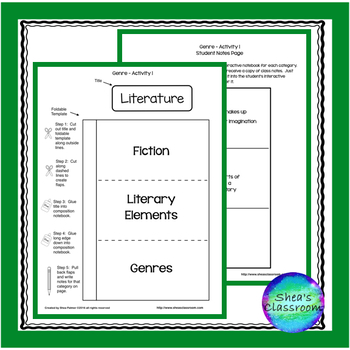 Literature & Genre Interactive Notebook Freebie!!!!!!!