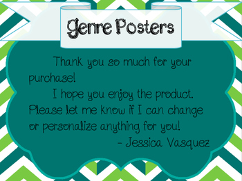 Literature Genre Posters - Green and Teal