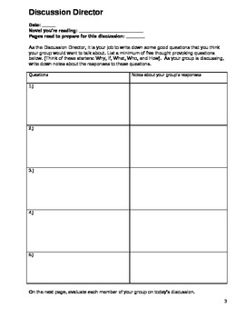 Literature Group Packet with roles and responsibilities