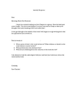 Literature Group  Teacher Letter for students