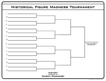 Free Literature & History Tournament Madness Creative Activity
