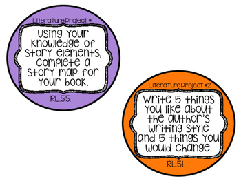 Literature & Informational Extension Activities Task Cards