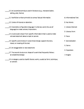 Literature Keystone Glossary Matching Quiz-Set 3
