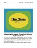 Literature Language Analytical Quizzes for The Giver by Lois Lowry