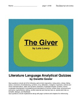 Literature Language Analytical Quizzes for The Giver by Lo