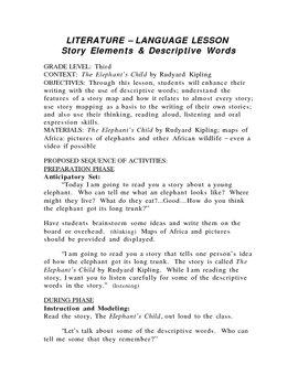 Literature - Language Lesson: Story Elements & Descriptive Words