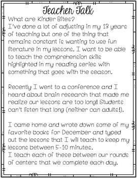 Literature Lessons December Kindergarten