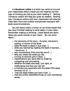 Literature Letter reading response