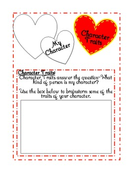 Literature Love Letters- A character trait activity