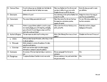 Literature Matrix Charts for ANY Fiction or Non-Fiction Text