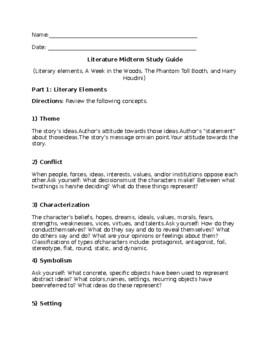 Literature Midterm Exam Study Guide