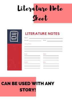 Literature Note Sheet