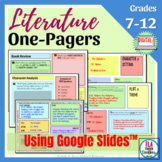 Literature One-Pagers for Any Novel  Hybrid or Distance Learning