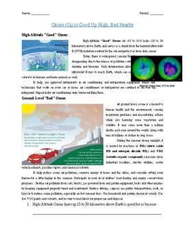 Literature: Ozone (O3) is Good Up High, Bad Nearby (50 mins)