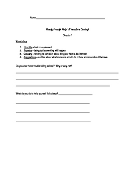 Literature Packet for Ready Freddy! Help! A Vampire's Coming! by Abby Klein