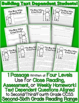 Literature Passage {Close Reading + Common Core Text Based Questions} w/ Writing