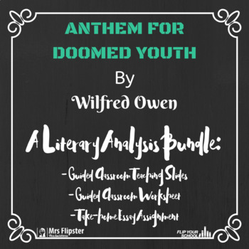 Literature Poetry Anthem For Doomed Youth Lesson Bundle