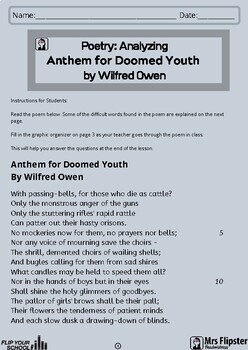 Literature: Poetry-Anthem for Doomed Youth by Wilfred Owen-Classroom Worksheet