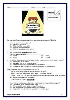 Literature Quiz - Charles by Shirley Jackson