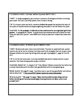 Literature (Reading & Writing) Feedback Skill Cards