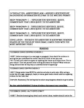 Literature (Reading & Writing) Feedback Skill Cards