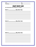 Literature Response Diary entry Page Template