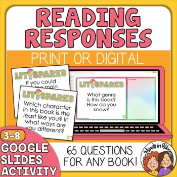 Reading Comprehension QUESTION Cards for Any Book! Task Cards for Close Reading