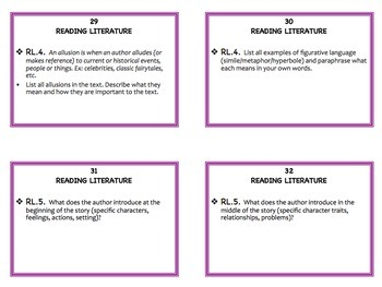 Reading Literature Task Cards for Any Text: Grades 3 - 6
