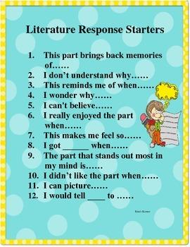 Literature Response Sentence Starters