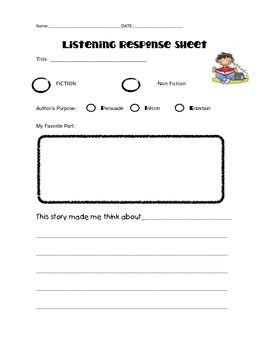 Literature Response Sheet
