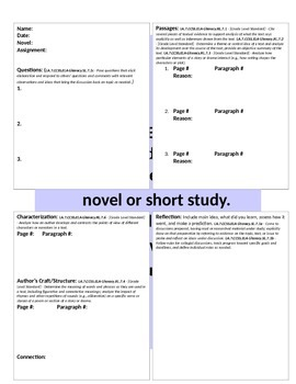 Literature Response Student Bookmark